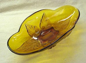 Vintage Amber Relish Dish - Memory Lane Collectibles