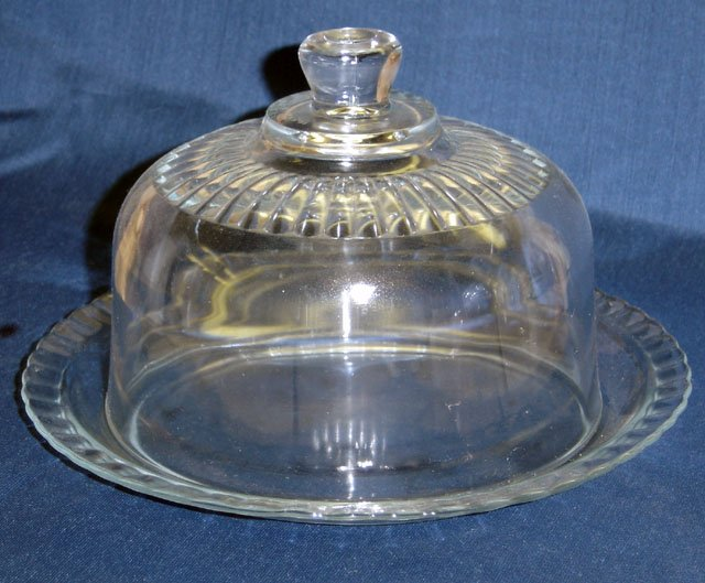Sparkling Clear Glass Cheese Serving Dish - Memory Lane Collectibles