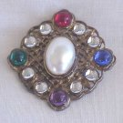 Goldtone Filigree Brooch Multicolor Stones / Faux Pearl -  FREE SHIPPING - Memory Lane Collectibles