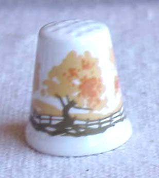Bone China Thimble from Scotland - Memory Lane Collectibles