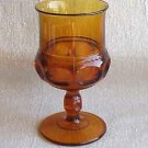 Kings Crown Amber Thumbprint Stem Water Goblet - Memory Lane Collectibles