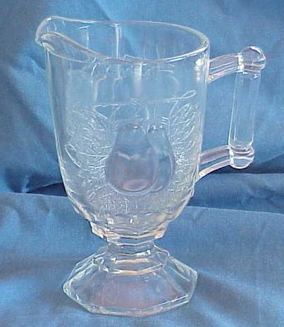 Jeanette Glass Clear Cream Pitcher, Baltimore Pear Pattern