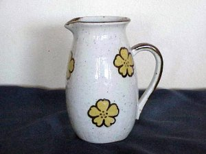 White with Yellow Flowers Pitcher Made in Japan