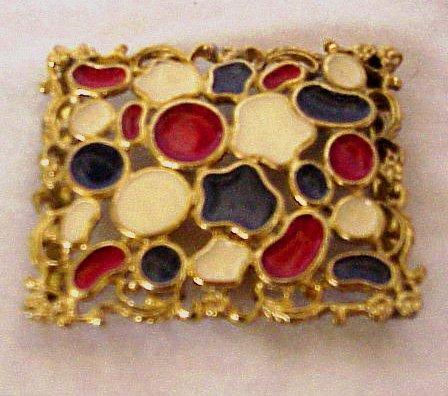 Goldtone Buckle,  Enameled Red, White & Blue