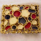 Goldtone Buckle,  Enameled Red, White & Blue