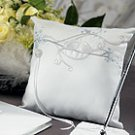 Love Bird in Classic White Square Ring Pillow