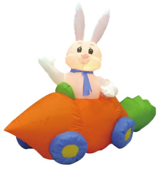 5 Foot Long Party Inflatable Bunny in Carrot Car - Yard Decoration #013