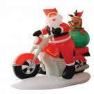 6 Foot Long Lighted Christmas Inflatable Santa Claus on Motorcycle and Reindeer Yard Decoration