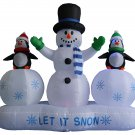 6 Foot Tall Lighted Christmas Inflatable Snowman and Penguin Lightshow Decoration @161