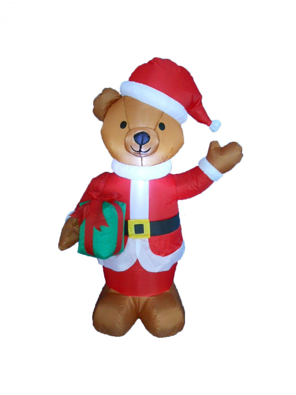 4 Foot Tall Lighted Christmas Inflatable Teddy Bear Yard Decoration #255