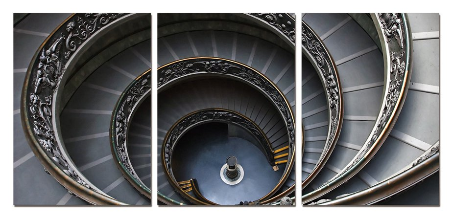 Spiral Stairway Gallery Wrapped Triptychs 3 Panel Modern Wall Art Decoration #203