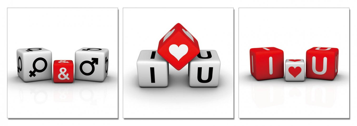 Roll the Dice I love You, Gallery Wrapped Triptychs 3 Panel Modern Wall Art Decoration #209