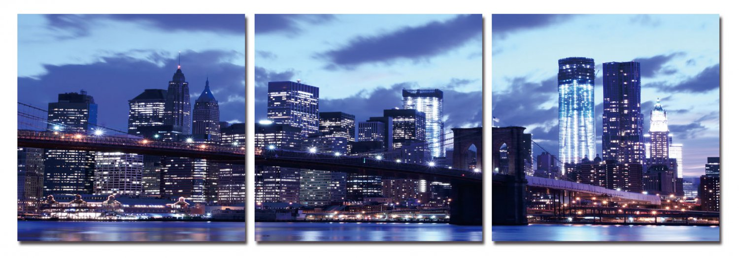 City View at Night, Gallery Wrapped Triptychs 3 Panel Modern Wall Art Decoration #221
