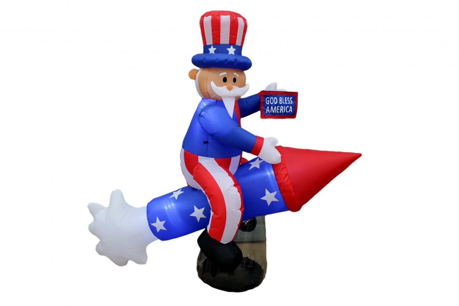 PATRIOTIC INFLATABLE UNCLE SAM RIDING ROCKET FIREWORK 4TH OF JULY AIR BLOWN #336