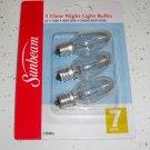 6Pack Sunbeam 7 Watt Clear Night Light Bulbs C7 Halloween Christmas Light Bulbs