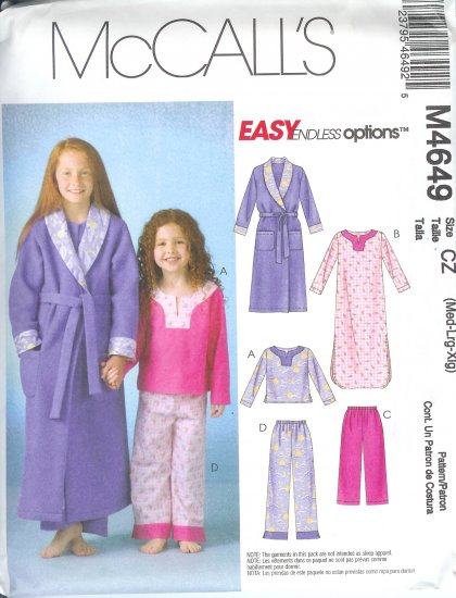 M4649 McCall Pattern EASY ENDLESS OPTIONS Robe Belt Top Gown Pants 2 Lengths Childs/Girls Size M-XL