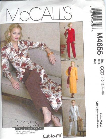 M4655 McCalls DRESS ALTERNATIVES  Jackets,Dress,Duster,Pants Misses/Miss Petite Size 10-12-14-16