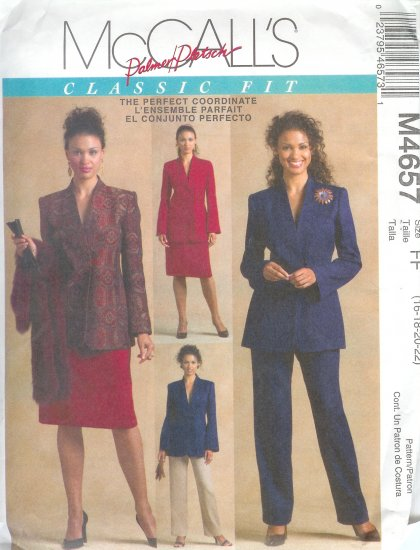 M4657 McCalls PALMER PLETSCH Lined Jacket , Pants, Skirt  Misses Size FF 16-18-20-22