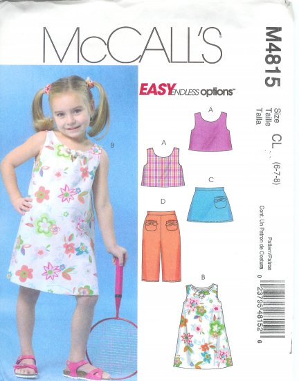 M4815 McCall Pattern EASY ENDLESS OPTIONS Reversible Top,- Dress Skort Capri Pants Childs/Girls  2-5