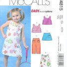 M4815 McCall Pattern EASY ENDLESS OPTIONS Reversible Top,- Dress Skort Capri Pants Childs/Girls 6-8