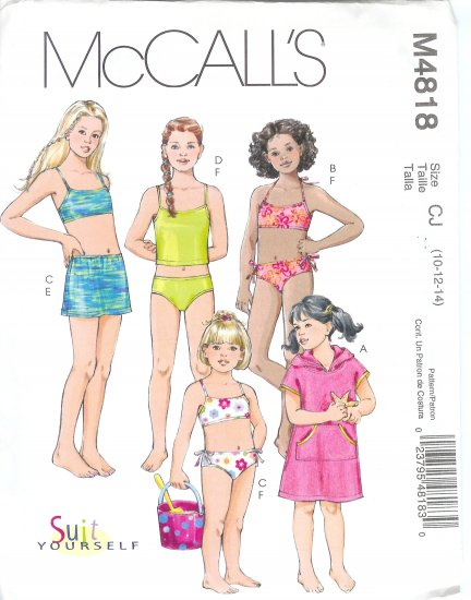 M4818 McCall Pattern SwimSuit Cover-up, Tops, and Bottoms Childs / Girls Size CJ 10-12-14