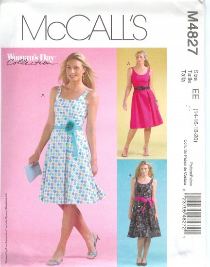 M4827 WOMANS DAY Dress and Tie Belt Misses/Miss Petite Size EE 14-16-18-20