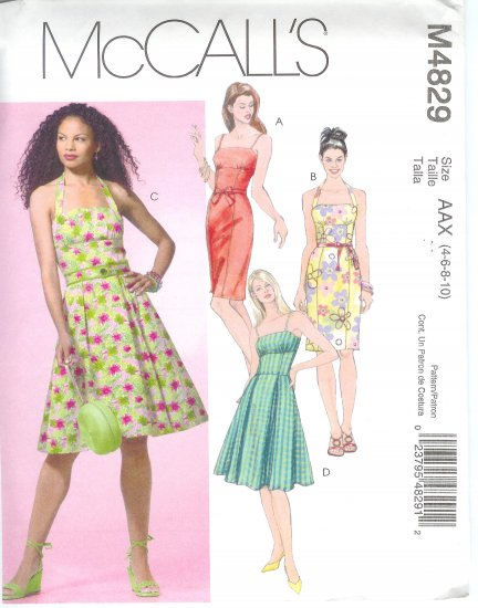 M4829 McCalls Pattern Dresses in Two Lengths Misses/Miss Petite  Size 4-6-8-10