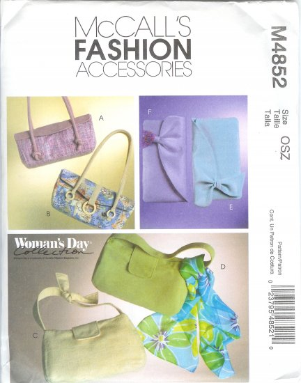 M4852 McCalls Pattern WOMANS DAY - FASHION ACCESSORIES Handbags / Purses