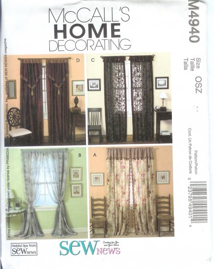 M4940 McCalls Pattern HOME DECORATING Window Treatments Size OSZ