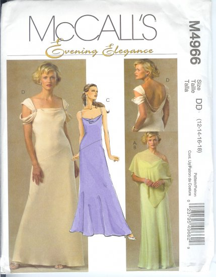 M4966 McCalls Pattern EVENING ELEGANCE Poncho and Lined Dresses Misses Size AAX  4-6-8-10