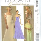 M4966 McCalls Pattern EVENING ELEGANCE Poncho and Lined Dresses Misses Size DD 12-14-16-18