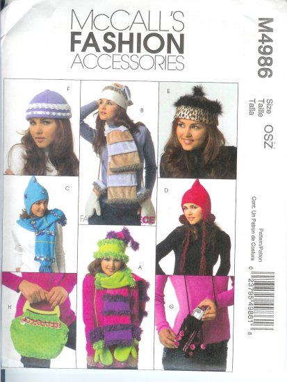 M4986 McCalls Pattern FASHION ACCESSORIES Hats, Mittens, Scarves and Handbags Misses Size OSZ