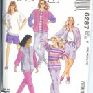 M6287 McCalls Pattern Unlined Jacket,Tops,Pants & Shorts Misses Size S, M, L - For Stretch Knits