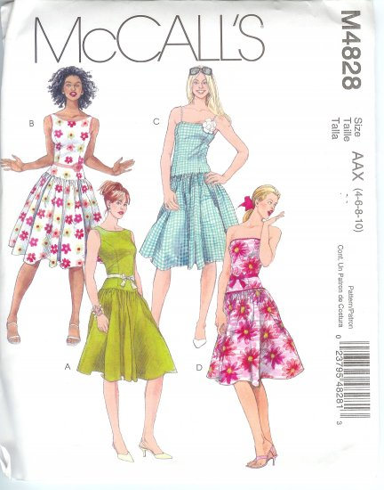 M4828 McCalls Pattern  Dresses & Belt Misses/Miss Petite Size 4-6-8-10