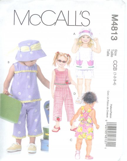 M4813 McCall Pattern Top, Shorts, Capri Pants, and Hat Toddlers Size CCB 1-2-3-4