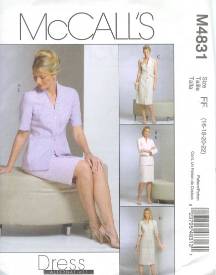 M4831 McCalls DRESS ALTERNATIVES Jacket, Dress Tie Belt, & Skirt 8Misses/Miss Petite Size 8-10-12-14