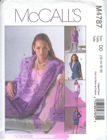 M4787 McCalls NON-STOP WARDROBE Jacket in 2 Lengths,Top, Skirt and Pants PETITE Misses Size BB 8-14