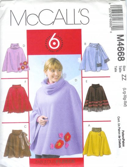 M4668 McCalls Pattern GREAT 6 LOOKS in 1 PATTERN Ponchos Misses Size ZZ  L, XL, XXL