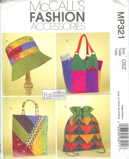 "MP321 McCalls Pattern FASHION ACCESSORIES ""FAT QUARTERS"" Misses Hat, Totes, & Handbag"