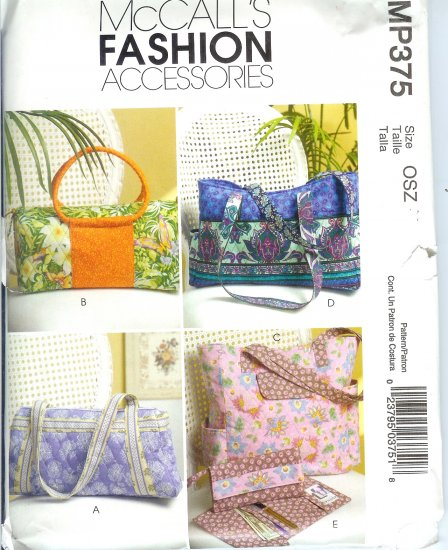 MP375 McCalls Pattern FASHION ACCESSORIES Handbags