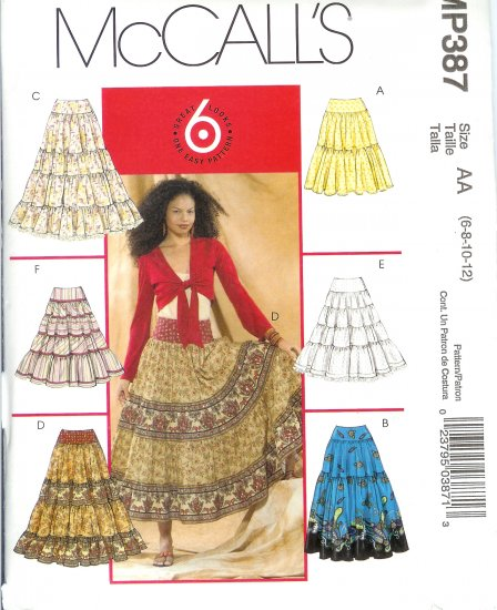 "MP387 McCalls Pattern ""6 LOOKS in 1 PATTERN"" Skirts Misses Size AA 6-8-10-12"