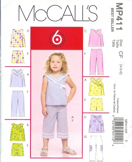 "MP411 McCall Pattern ""6 LOOKS in 1 Pattern"" Tops, Shorts, & Capri Girls Toddlers Size CB 1-2-3"