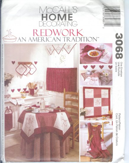 "M3068 McCall Pattern ""REDWORK"" an AMERICAN TRADITION Home Decor"
