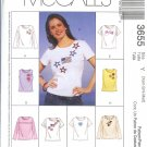 M3655 McCalls Pattern EXPRESS YOURSELF Tops Misses Size Y  XS,S,M