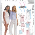 "M3854 McCalls Pattern ""NY JR"" Nightgowns Tops Camisoles shorts Pants & Bloomers Junior JA  3/4-9/10"