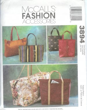 M3894 McCalls Pattern FASHION ACCESSORIES 6 Style Lined Handbags