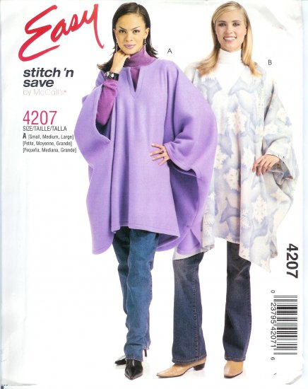 M4207 McCalls Pattern STITCH 'N SAVE Ponchos Misses Size B 20-22-24-26