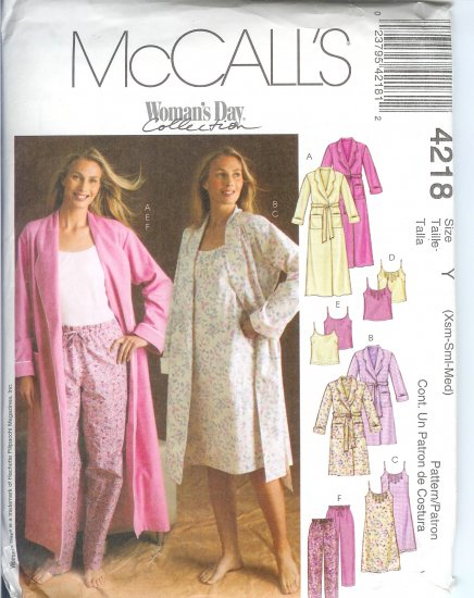 M4218 McCalls Pattern WOMANS DAY  Robe in 2 Lengths, Nightgown Tops & Pants Misses XS- M