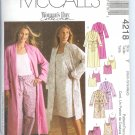 M4218 McCalls WOMANS DAY  Robe in 2 Lengths, Nightgown Tops & Pants Misses Size Z  L, XL, XXL