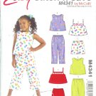 M4341 McCalls Pattern EASY STITCH N SAVE Tops, Shorts & Pants Child/Girls Size  A  3-4-5-6